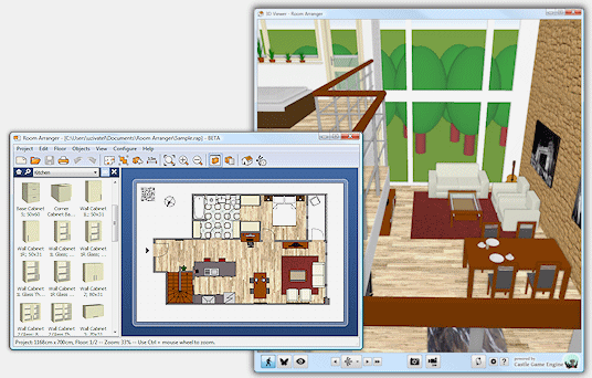 Room arranger design room floor plan house for Software for planning room layouts